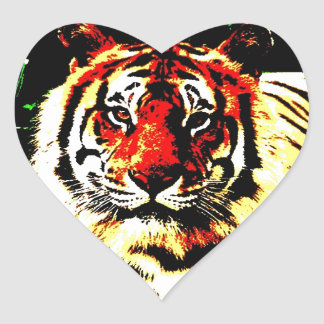 Retro Tiger Heart Sticker