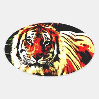 Retro Tiger Oval Sticker