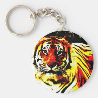 Retro Tiger Pop Art Keychain