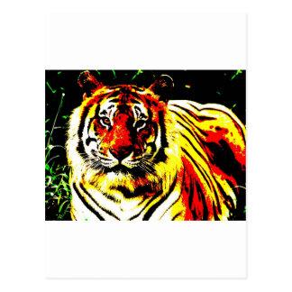 Retro Tiger Pop Art Postcard