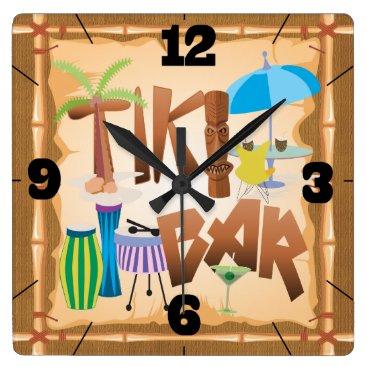 Beach Themed Retro Tiki Bar Square Wall Clock