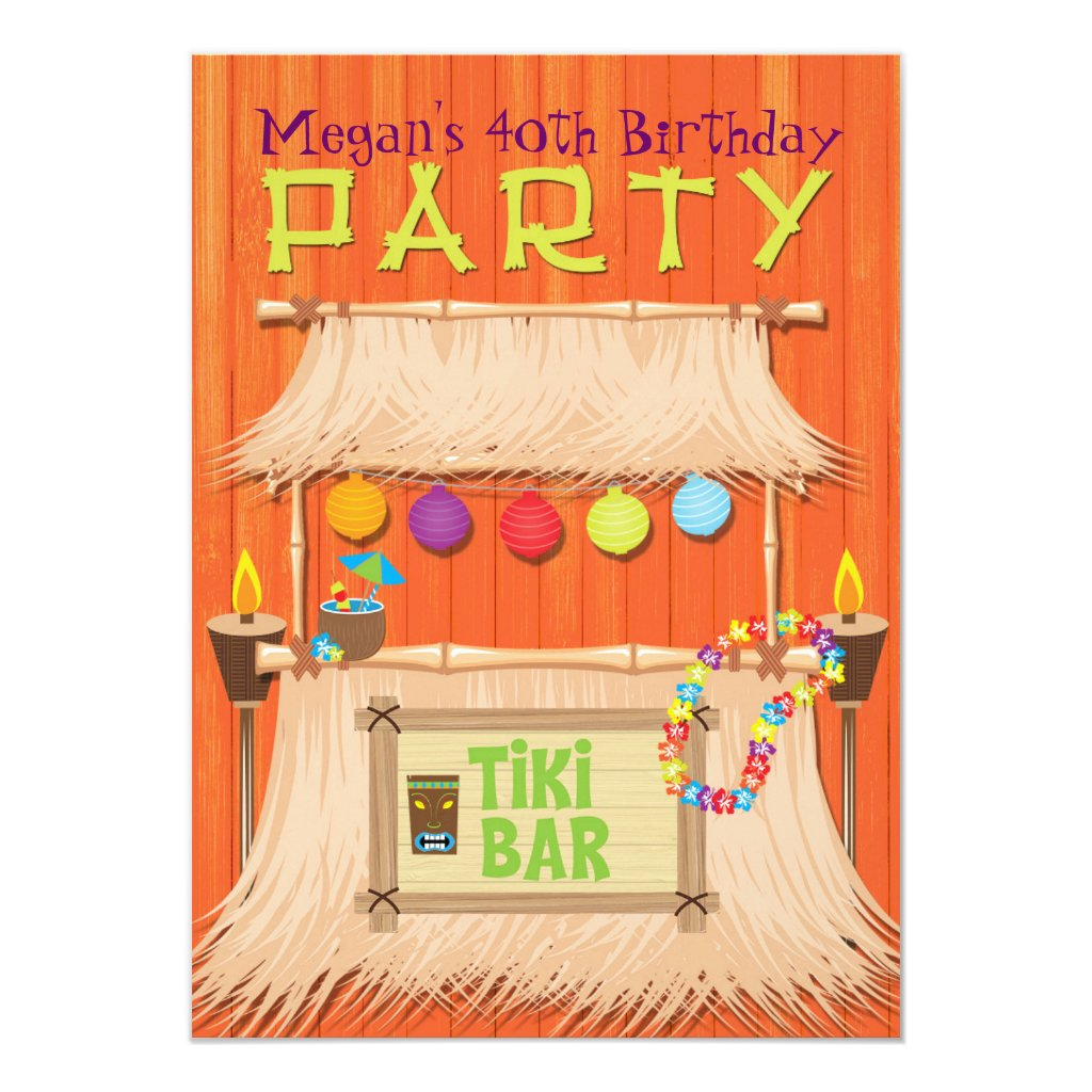 Retro Tiki Bar Tropical Hawaiian Party Invitation