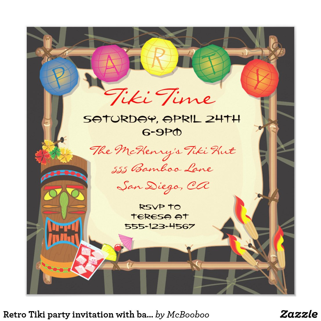 Retro Tiki party invitation with bamboo frame