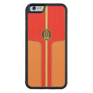 Retro Tiki Surfboard Carved Maple iPhone 6 Bumper Case