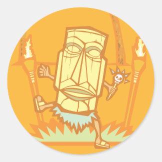 Retro Tiki Witchdoctor Classic Round Sticker