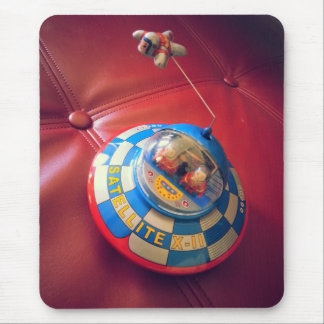 Retro Tin Flying Saucer Mouse Pad