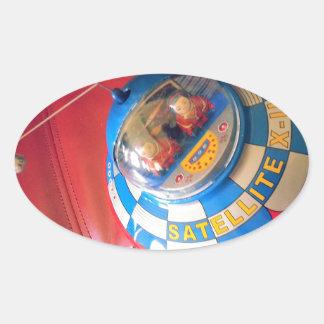Retro Tin Flying Saucer Oval Sticker