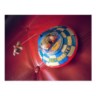 Retro Tin Flying Saucer Postcard