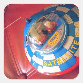 Retro Tin Flying Saucer Square Sticker
