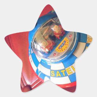 Retro Tin Flying Saucer Star Sticker