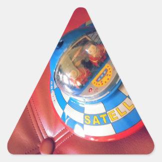 Retro Tin Flying Saucer Triangle Sticker