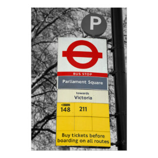 Retro Tint Canvas Print of a London Bus Stop sign