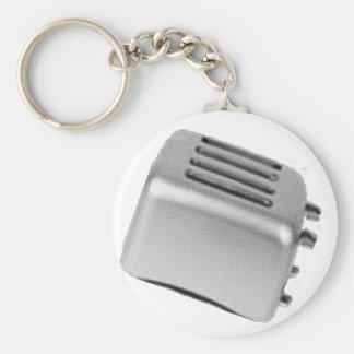 Retro Toaster - Light Grey B&W Basic Round Button Keychain