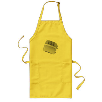 Retro Toaster - Light Grey B&W Long Apron