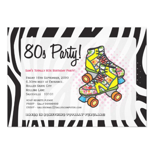Retro Totally 80's Roller Skates Birthday Party Announcement