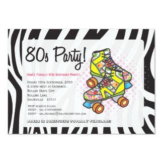 Retro Totally 80's Roller Skates Birthday Party 5x7 Paper Invitation Card