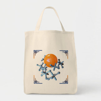 Retro Toy Jacks and Ball Tote Bag Orange
