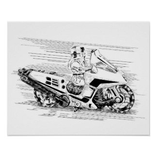 Retro toy Motorcycle/Helicopter Poster