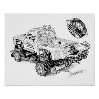 Retro toy Pickup/Recon Truck Poster