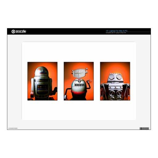 """Retro Toy Robot Lineup 01 Zazzle Skin 15"""" Laptop Skin"""