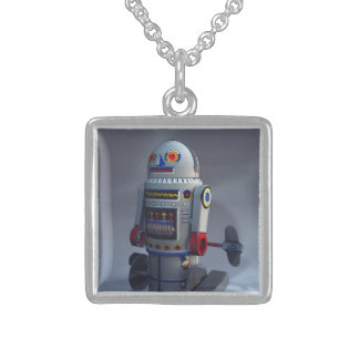 Retro Toy Robot Number 7 Sterling Silver Necklace