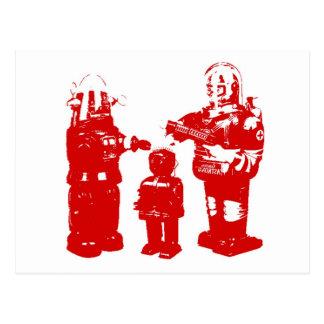 Retro Toy Robots Postcard