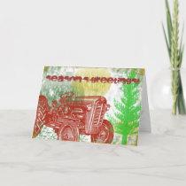 Retro Tractor Christmas Card
