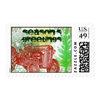 Retro Tractor Holiday Stamp