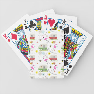 Retro Trailer & Flamingos Pattern Bicycle Playing Cards