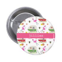 Retro Trailer & Flamingos Pattern Button