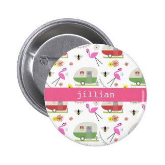 Retro Trailer & Flamingos Pattern Button