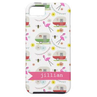 Retro Trailer & Flamingos Pattern iPhone 5 Cover