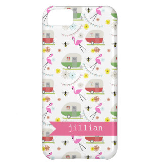 Retro Trailer & Flamingos Pattern iPhone 5C Case