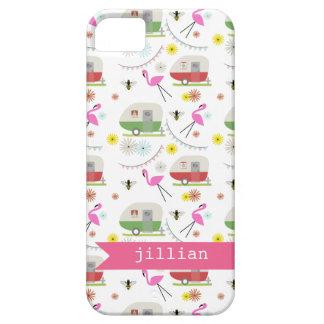 Retro Trailer & Flamingos Pattern iPhone 5 Case