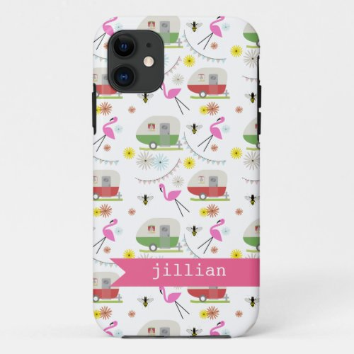 Retro Trailer & Flamingos Pattern Phone Case