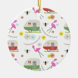 Retro Trailer & Flamingos Pattern Ceramic Ornament
