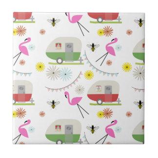 Retro Trailer & Flamingos Pattern Ceramic Tile