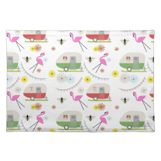 Retro Trailer & Flamingos Pattern Cloth Placemat