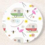 Retro Trailer & Flamingos Pattern Drink Coasters