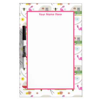Retro Trailer & Flamingos Pattern Dry Erase Board