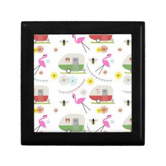 Retro Trailer & Flamingos Pattern Gift Box
