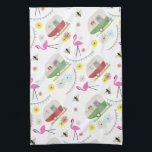 "Retro Trailer &amp; Flamingos Pattern Hand Towel<br><div class=""desc"">This product features a pattern which incorporates illustrations of retro vintage inspired camper trailers,  pink flamingos,  bees,  and flowers.</div>"