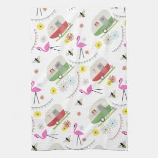 Retro Trailer U0026amp; Flamingos Pattern Hand Towel