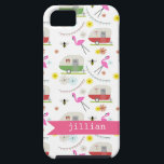 """Retro Trailer &amp; Flamingos Pattern iPhone SE/5/5s Case<br><div class=""""desc"""">This product features a pattern which incorporates illustrations of retro vintage inspired camper trailers,  pink flamingos,  bees,  and flowers.</div>"""