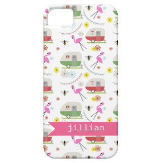 Retro Trailer & Flamingos Pattern iPhone SE/5/5s Case