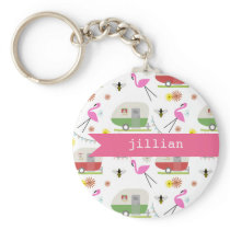 Retro Trailer & Flamingos Pattern Keychain