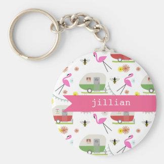 Retro Trailer & Flamingos Pattern Key Chains