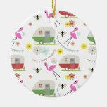 Retro Trailer & Flamingos Pattern Double-Sided Ceramic Round Christmas Ornament