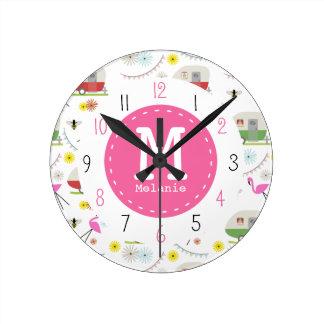 Retro Trailer & Flamingos Pattern Round Clock