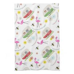 Retro Trailer & Flamingos Pattern Towels